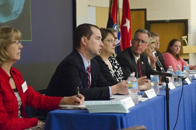 Chris Nicholson, special agent with the Kansas Bureau of Investigation, speaks during a Sexual Harassment/Assault Response and Prevention professional forum at the headquarters of the 35th ID, Leavenworth, Kansas, April 13. Nicholson emphasized that reporting victim of sex crimes are not alone and will receive ample support if they report the offense.