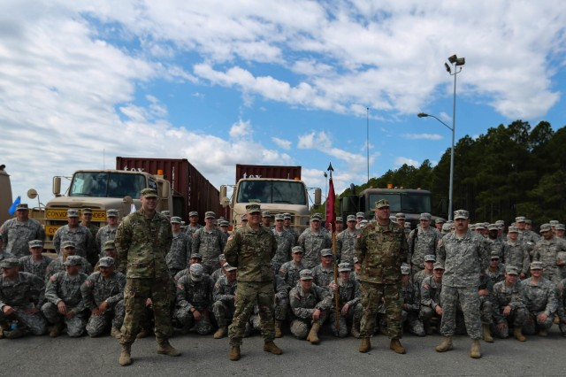 Soldiers of Nebraska Army National Guard's 1057th Transportation Company prepare for a 1,200 mile journey from North Carolina to Oklahoma.