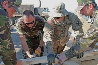 U.S. Army Pfc. Micheal Blackwelder, a carpenter with the 1151st Engineer Company, assists Romanian Soldiers with cutting support beams for an ammunition storage building Aug. 25, 2015 at Cincu Training Center, Romania. American and Romanian forces were working together in support of Exercise Resolute Castle 15.