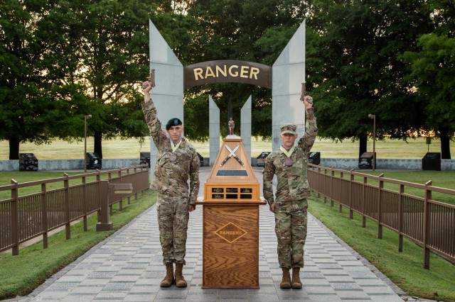Staff Sgt. Erich Friedlein and Capt. Robert Killian, representing the Army National Guard are the 2016 David E. Grange Best Ranger Competition winners. Acting Secretary of the Army Patrick Murphy presented awards to the winning team, April 18, 2016. In July 1981, the Ranger department was asked to design and conduct a Ranger Olympics to identify the best two-man buddy team and the annual event is held  annually at Fort Benning, Ga.