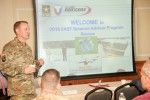 Brig. Gen. Thomas Todd, RDECOM deputy commanding general, leads a discussion of the Field Assistance in Science and Technology program's annual program review at Aberdeen Proving Ground, Maryland, April 18, 2016.