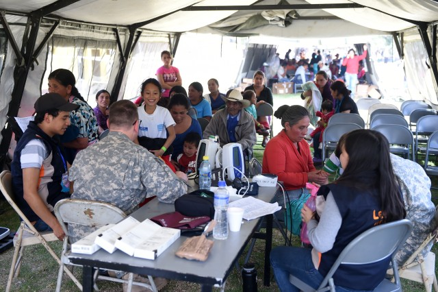 Local Guatemala nationals wait to have their body vitals checked, April 11, 2016, during the local medical readiness training exercise in Palo Gordo, Guatemala. The MEDRETE is estimated to serve a total of 7,000 residents from the local area for treatments such as prescription eyewear, OBGYN, dental procedures and pharmaceutical prescriptions.