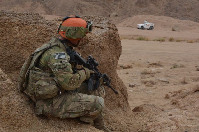"Soldiers from Bull Troop, 1st Squadron, 2nd Cavalry Regiment ""Task Force War Eagle"" conducted Operation Bull Run, a week long training exercise that ended, April 22, 2016 in Sharm el Sheikh, Egypt. The purpose of the training was to certify the Response Platoon on mounted and dismounted personnel recovery operations. TF War Eagle is deployed to the Sinai in support of Multinational Force and Observers."