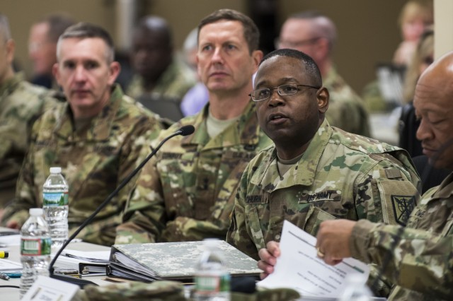Maj. Gen. Phillip Churn, commanding general of the 200th Military Police Command, asks a question during a Commander's Readiness Review (CR2) at the MP command's headquarters at Fort Meade, Maryland, April 16. (U.S. Army photo by Master Sgt. Michel Sauret)