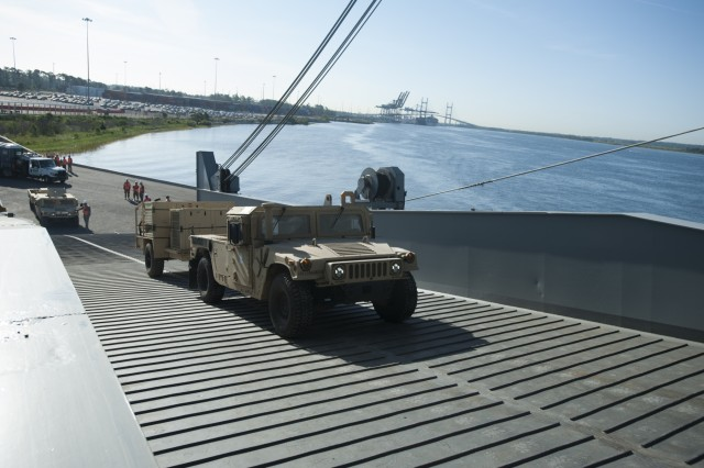 Vehicles from the 3rd Brigade Combat Team, 101st Airborne Division load onto the U.S. Naval Ship Benevidez, a Bob Hope class roll-on, roll-off vehicle cargo ship in Jacksonville, Fla. April 19, 2016. The Benevidez is loading more than 1000 vehicles and cargo containers from the 3rd BCT as part of the brigade's Sealift Emergency Deployment Readiness Exercise that is designed to test the brigade's ability to rapidly mobilize and deploy personnel and equipment. The 3rd BCT equipment will be moved by the Benevidez to Port Arthur, Texas where it will be offloaded and driven by Soldiers from 3rd BCT to Fort Polk, La. for the brigade's combined training center rotation at the Joint Readiness Training Center. (U.S. Army photo by Staff Sgt. Joel Salgado, 3rd Brigade Combat Team Public Affairs)