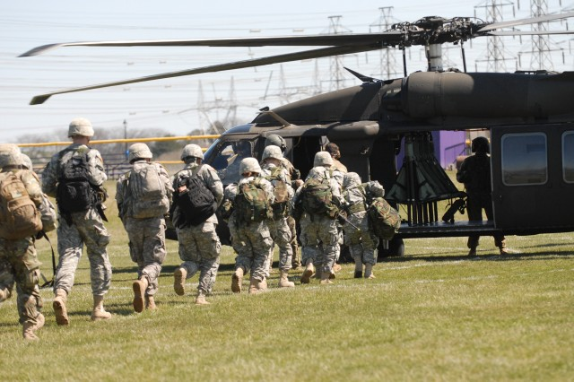 Army cadets from Niagara University and Canisius College board a UH-60M Black Hawk helicopter with 2nd Battalion, 10th Aviation Regiment, 10th Combat Aviation Brigade during an annual Joint Leadership Training Exercise (JLFX), April 14, 2016.  The JLFX is designed to give cadets an opportunity to refine and further develop their critical thinking and decisive leadership skills as they navigate through a series of common Soldier tasks and drills for four days.