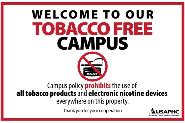 Signs such as this can be expected beginning May 8, as General Leonard Wood Army Community Hospital is scheduled to become a tobacco-free campus.