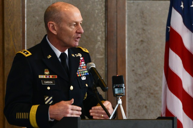 Lt. Gen. Edward Cardon, U.S. Army Cyber Command and Second Army commander, speaks at the Army Cyber Institute-sponsored Joint Service Academy Cyber Security Summit, at the U.S. Military Academy, West Point, N.Y., April 21, 2016.