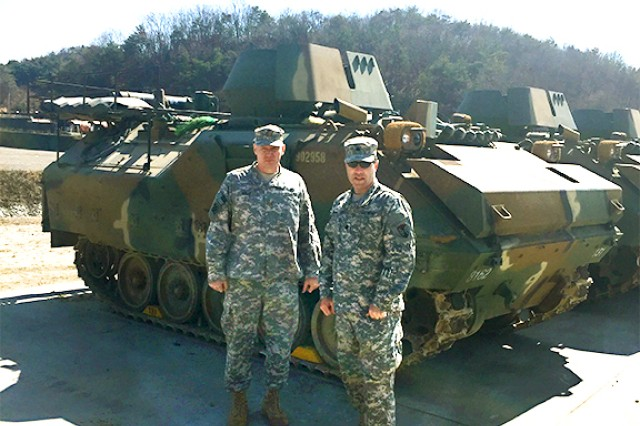 Maj. John Kelly (left) and Lt. Col. Brian Wood stand at the Rodriguz Live Fire Complex in South Korea during the Key Resolve and Foal Eagle exercise.