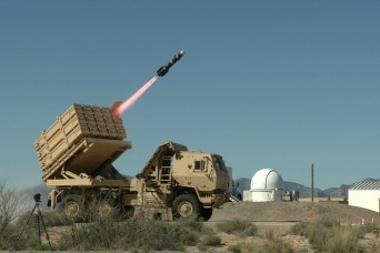 The IFPC Inc 2-I Multi Mission Launcher launches a Longbow Hellfire missile against a UAS representative target on White Sands Missile Range. The MML is a new air defense system undergoing testing on WSMR to integrate new control systems and missiles.