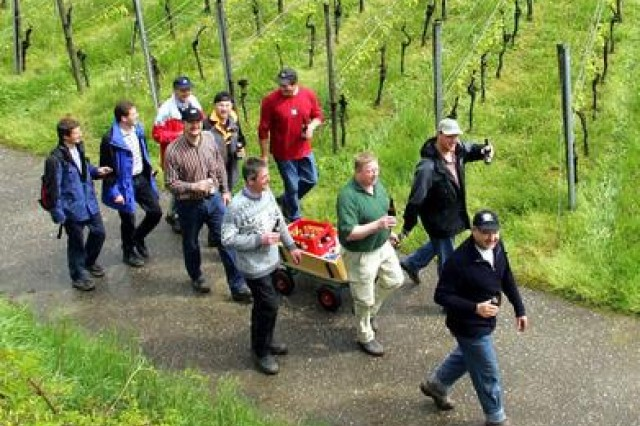 "The German holiday on May 5, ""Christi Himmelfahrt"" or Ascension Day, is also celebrated as German Fathers Day. Traditionally groups of men will hike a few miles while pulling a hand wagon filled with refreshments."