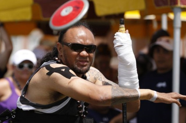 "Retired Army Sgt. 1st Class Sualauvi ""Sua"" Tuimalealifano, a member of U.S. Special Operations Command's (USSOCOM) Military Adaptive Sports Program (MASP), competes at the 2015 Warrior Games aboard Marine Corps Base Quantico, Virginia. Sua is scheduled to compete in the 2016 Invictus Games and is one of 16 SOCOM athletes who will join the U.S. team, which includes the Army, Navy, Air Force and Marines, as they compete in adaptive sport competitions against athletes from 14 countries from May 8-12 in Orlando."