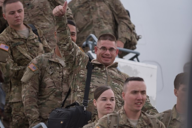 "Soldiers of the 1st Armored Division Combat Aviation Brigade, ""Iron Eagles"", from Fort Bliss, Texas, arrived at Albrecht Dürer Airport, Nuernburg, Germany, April 26, 2016. The Soldiers from 1AD CAB are in USAREUR as an augmentation or surge force to further enable the 12th Combat Aviation Brigade during Anakonda 16. (U.S. Army photo by Spc. Antonio Ramirez, 12th CAB/released)"