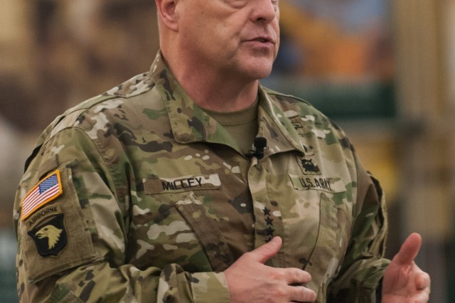 "Chief of Staff of the Army Gen. Mark A. Milley addresses U.S. Army Reserve senior leaders at the Iron Mike Conference, April 25, 2016, Fort Bragg, N.C. With the readiness of the Total Army as his No. 1 priority, Milley said, ""It is our job to be ready, to provide options to the President of the United States."""