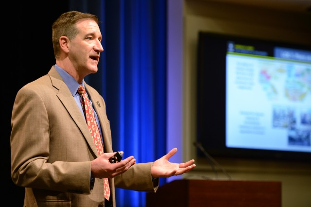Richard G. Kidd IV, who serves as the deputy assistant secretary of the Army for energy and sustainability, discusses the Army's perspective on climate change during an April 26, 2016 presentation at the Pentagon.