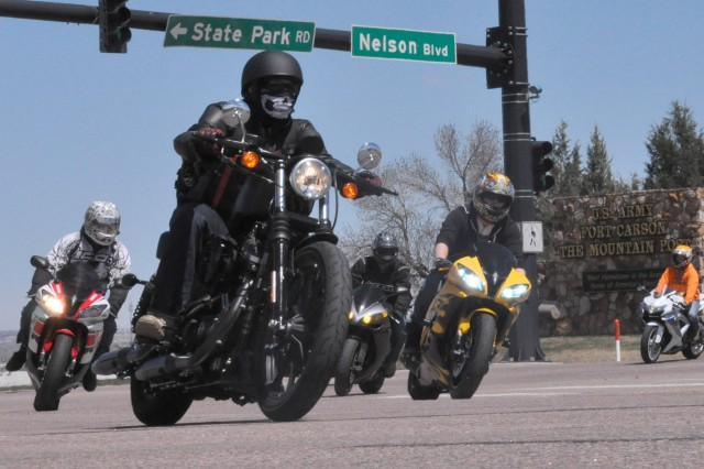 FORT CARSON, Colo. -- Motorcycle riders depart Fort Carson's Gate 1 onto Highway 115 for the Iron Horse Kickstart 2016 Motorcycle Safety Rally ride April 21, 2016. More than 350 riders met at McMahon Auditorium for safety briefings before participating in a 105-mile safety ride from Fort Carson to Pueblo and back.
