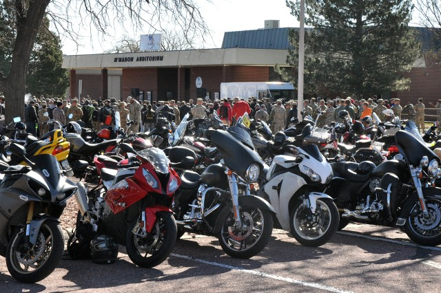 FORT CARSON, Colo. -- Motorcyclists assemble for the safety brief in front of McMahon Auditorium April 21, 2016, before the safety ride as the final event of the day for the Iron Horse Kickstart 2016 Motorcycle Safety Rally hosted by Division Artillery, 4th Infantry Division.