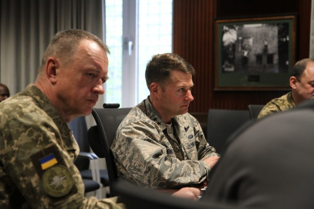 Maj. Gen. Lengyel, Commander of Special Operations Command - Europe, sat down with Maj. Gen Ihor Luyov, commander Ukrainian Special Operations Forces Command to discuss their ongoing joint training.