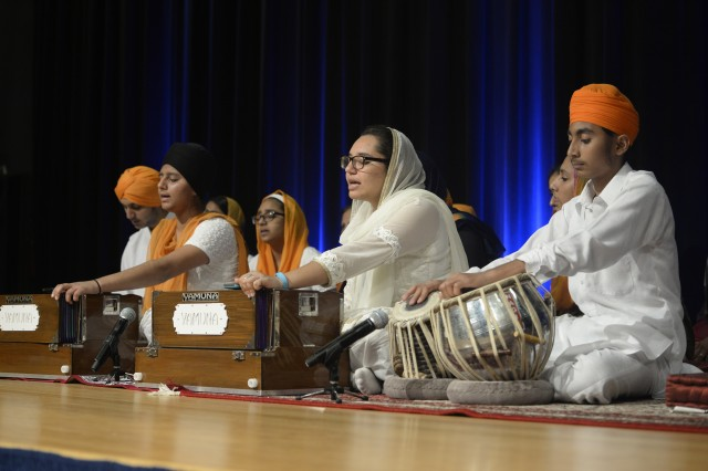 "Musicians with ""Sikh Kid to Kid,"" a Sikh youth organization, perform at the Sikh Vaisakhi Celebration in celebration of the Sikh New Year at the Pentagon in Arlington, Va., April 29, 2016."