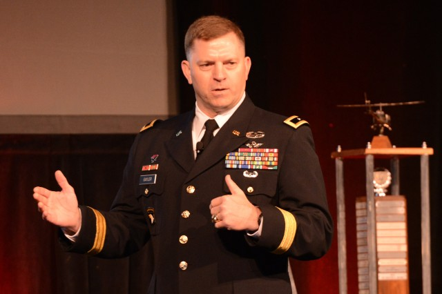 Maj. Gen. William K. Gayler, commander of the U.S. Army Aviation Center of Excellence and Fort Rucker, Alabama, speaks at the Army Aviation Association of America-sponsored 2016 Army Aviation Mission Solution Summit in Atlanta, April 29, 2016.