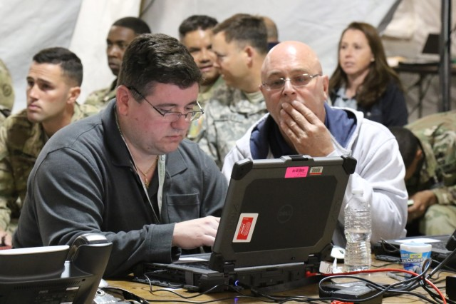 The U.S. Army hosted Cyber Blitz April 2016 at Joint Base McGuire-Dix-Lakehurst, N.J. Cyber Blitz provides the Army a venue to observe and assess cyber and electromagnetic activity-related interactions in a Tactical Command Post. (U.S. Army CERDEC photo by Kristen Kushiyama)