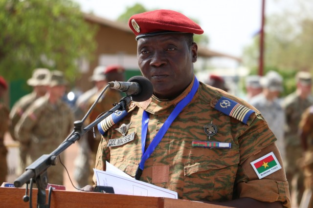 Col. Maj. Yaya Sere, Burkina Faso army lead planner for Wester Accord 16, speaks during the accord's Opening Day Ceremony May 2, 2016 at Camp Zagre, Ouagadougou, Burkina Faso. Western Accord 16 is an annual combined, joint exercise designed to increase the ability of African partner forces and the U.S. to exercise participants' capability and capacity to conduct African Union/United Nation mandated Peace Operations. (U.S. Army photo by Staff Sgt. Candace Mundt/Released)