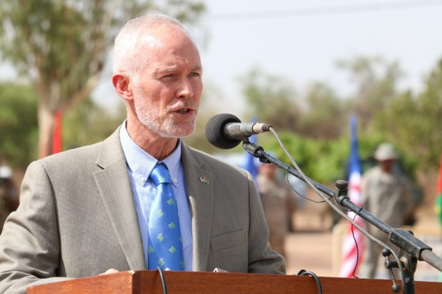 David K. Young, the First Counsellor, Senior Advisor, and Deputy Chief of Mission for the U.S. Embassy of Ouagadougou, Burkina Faso, speaks during the Western Accord 16 Opening Day Ceremony May 2, 2016 at Camp Zagre, Ouagadougou, Burkina Faso. Western Accord 16 is an annual combined, joint exercise designed to increase the ability of African partner forces and the U.S. to exercise participants' capability and capacity to conduct African Union/United Nation mandated Peace Operations. (U.S. Army photo by Staff Sgt. Candace Mundt/Released)