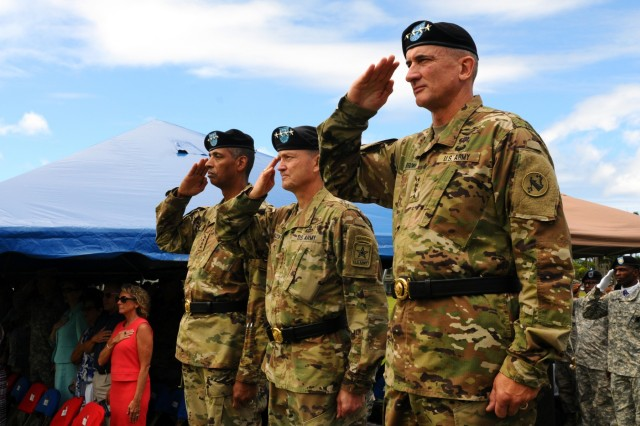 (L to R) Gen. Vincent K. Brooks, outgoing commander, U.S. Army Pacific; Gen. Daniel B. Allyn, Vice Chief of Staff of the Army; and Gen. Robert B. Brown, incoming commander, USARPAC, salute during the national anthem at the change of command ceremony for Brooks and Brown, at historic Palm Circle, Fort Shafter, Hawaii, May 4, 2016. (U.S. Army photo by Staff Sgt. Christopher McCullough)