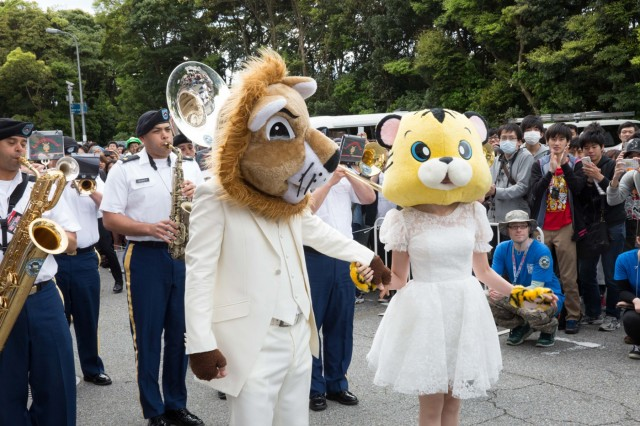 Soldiers from USARJ's Band play in the opening parade of Niconico Chokaigi 2016. The super-convention is sponsored by Niconico, Japan's largest social video website, and attracted over 157,000 attendees and 5.5 million viewers over the internet. (U.S. Army photo by Randall Baucom)