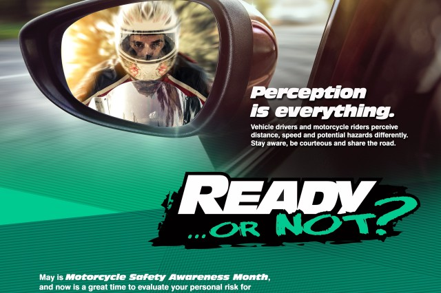 Safely operating any type of motor vehicle is a combination of several different factors — experience, environment and discipline affect both individuals and their fellow drivers. Motorcyclists, however, must be acutely aware of and prepared for potential hazards at all times, much more so than their counterparts in conventional vehicles. USACRC graphic design