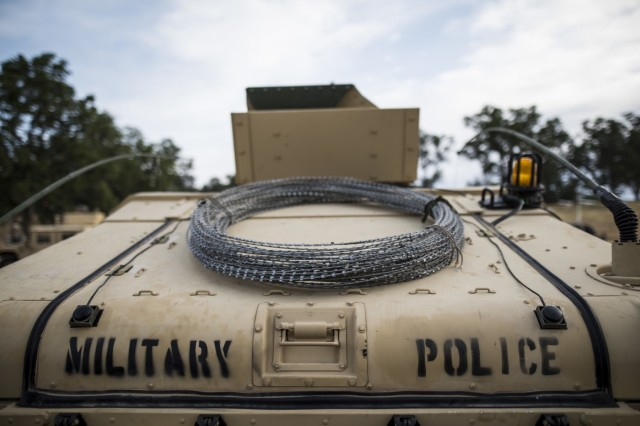 A military police High Mobility Multi-Purpose Wheeled Vehicle is staged for a convoy before a cordon and search training lane at Fort Hunter-Liggett, Calif., conducted by U.S. Army Reserve Soldiers from the 56th Military Police Company (Combat Support), May 4. Approximately 80 units from across the U.S. Army Reserve, Army National Guard and active Army are participating in the 84th Training Command's second Warrior Exercise this year, WAREX 91-16-02, hosted by the 91st Training Division at Fort Hunter-Liggett, California.