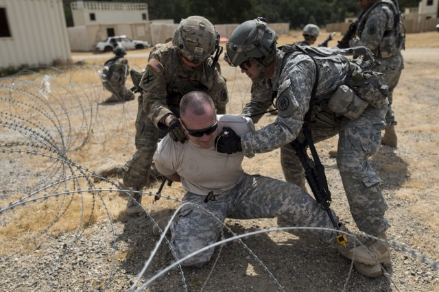 A team of U.S. Army Reserve military police Soldiers from the 56th Military Police Company (Combat Support), of Mesa, Arizona, detain a high-value target, played by Capt. Scott Little, with the 181st Infantry Brigade, of Winnipeg, Canada, during a cordon and search training lane at Fort Hunter-Liggett, Calif., May 4.
