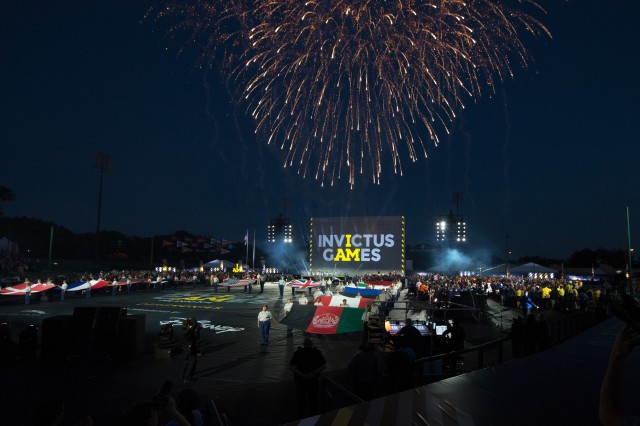 Fireworks explode over the opening ceremony for the 2016 Invictus Games in Orlando, Fla. May 8, 2016.