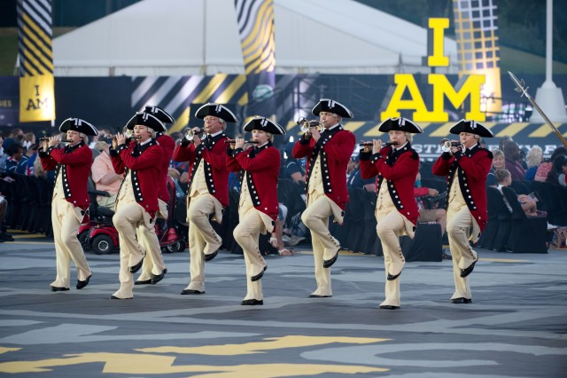The U.S. Army Old Guard Fife and Drum Corps performs during the opening ceremony to they 2016 Invictus games in Orlando, Fla., May 8, 2016.