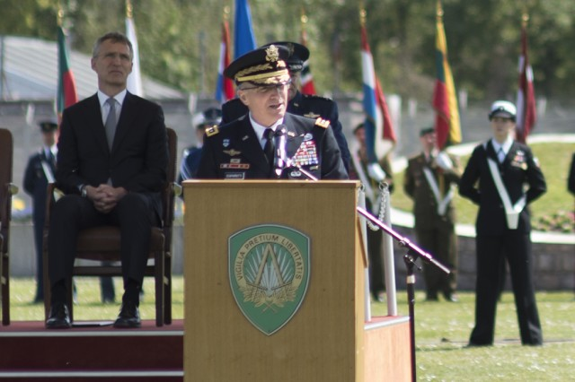 Gen. Curtis M. Scaparrotti speaks after assuming command of NATO's Allied Command Operations from Air Force Gen. Philip M. Breedlove in Mons, Belgium, May 4, 2016.