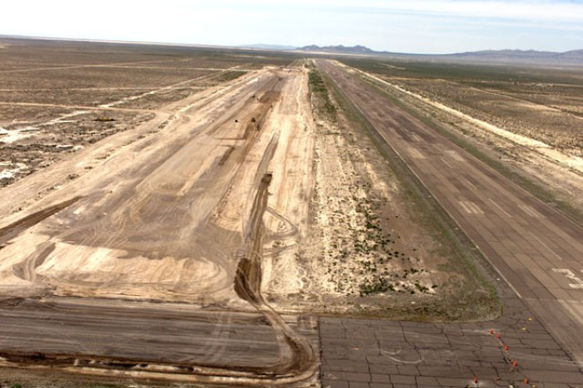 Beginning in 2003, after years of seeking funding, the runway, taxiway and related hardtop at Michael Army Airfield were renovated by the Army. This May 14, 2003 photo shows the 9,000-foot runway being prepared for a new surface. The project was completed in 2008. In 2009, the Rapid Integration and Acceptance Center for the testing of unmanned aerial systems became a tenant unit at Dugway. Photo by Al Vogel / Dugway Public Affairs