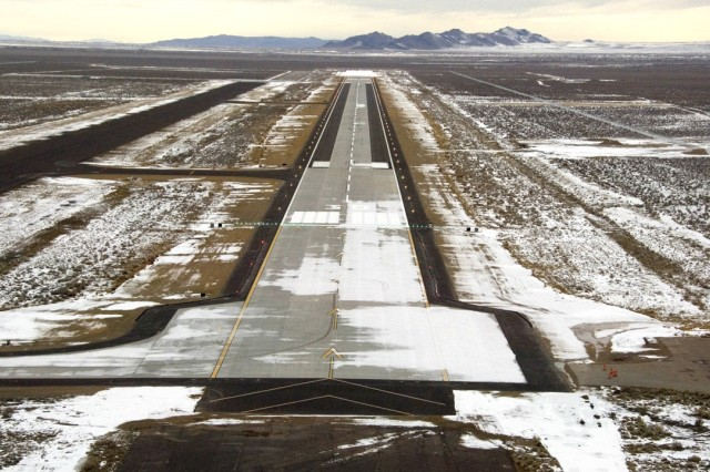 Michael Army Airfield in 2008, nearing the completion of its major renovation project. The airfield is 9,000 feet long, while the taxiway (left) is 7,000 feet. Open year round, the airfield offers a convenient landing site for aircrews testing or training at the Air Force's nearby Utah Test & Training Range. Photo by Al Vogel / Dugway Public Affairs.