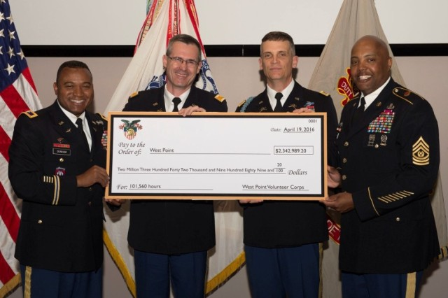 U.S. Army Garrison West Point Commander and Command Sergeant Major, Col. Landy Dunham (left) and Command Sgt. Maj. Joel Crawford (right), present a ceremonial check to U.S. Military Academy at West Point Chief of Staff, Col. Wayne Green (center left) and U.S. Military Academy Preparatory School Commandant Lt. Col. John Cross (center right.) The check of $2,342,989.20 represents the 101,560 hours of volunteer work the West Point community provided in 2015 (U.S. Army photo by John Pellino, USAG West Point, DPTMS, Visual Information/released.)