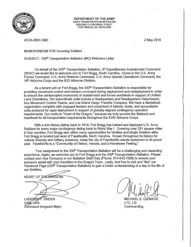 330th Transportation Battalion Welcome Letter