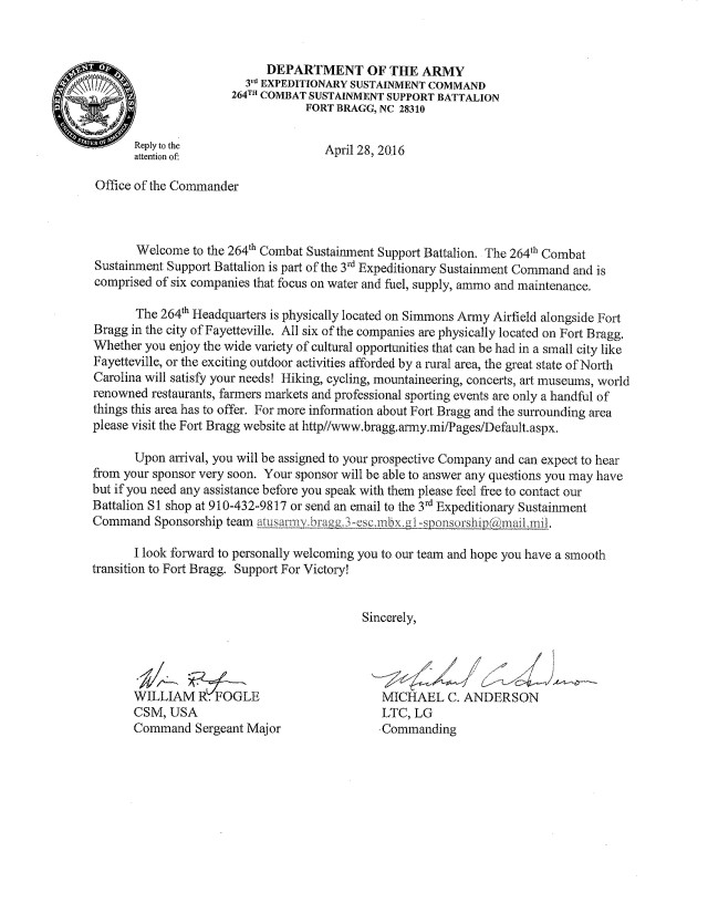 330th Combat Sustainment Support Battalion Welcome Letter