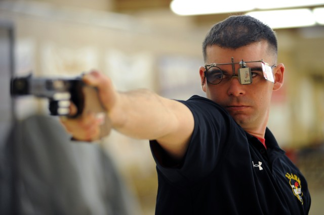 Sgt. 1st Class Keith Sanderson of the U.S. Army World Class Athlete Program, seen here practicing at the U.S. Olympic Training Center in Colorado Springs, Colo., has been selected for his third U.S. Olympic Team and will compete in the men's 25-meter rapid fire pistol event at the 2016 Rio Olympic Games.(U.S. Army photo by Tim Hipps, IMCOM Public Affairs)