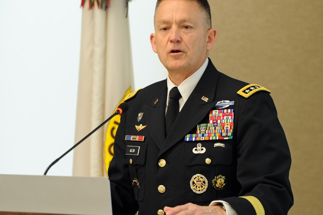 Vice Chief of Staff of the Army Gen. Daniel Allyn speaks at the monthly Institute of Land Warfare breakfast May 10. Allyn stressed consequences of fiscal constraints on modernizing and its effect on over-match capabilities.