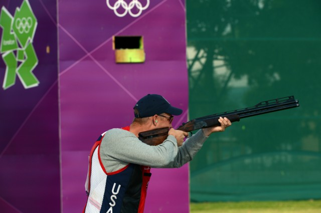 U.S. Army Marksmanship Unit shotgun shooter Sgt. 1st Class Glenn Eller shoots the opening round of Olympic men's double trap qualification at the Royal Artillery Barracks range at the 2012 London Games. Eller, the 2008 Olympic gold medalist, is scheduled to compete in his fifth Olympics at the 2016 Rio Games. (U.S. Army photo by Tim Hipps, IMCOM Public Affairs)