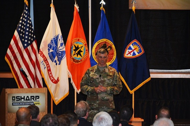 US Military Academy, West Point, Superintendent, Lt. Gen. Robert Caslen Jr. delivers the keynote address for the 2016 SHARP Summit held at Aberdeen Proving Ground, MD.
