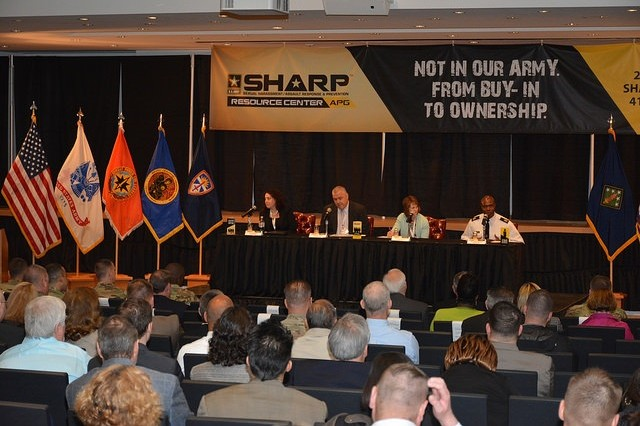 The Issues, Trends and Innovations panel discusses SHARP program details during the 2016 APG SHARP Summit, May 10, 2016, in the Mallette Auditorium on Aberdeen Proving Ground.