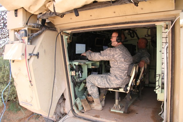 "Combined Arms Battalion Mobile Tactical Command Posts, or CAB Mobile TAC, is a M1068 tracked vehicle with integrated mission command and radio capabilities, allowing commanders to ""command from the hatch."" This product integrates the WIN-T Increment 2 Point of Presence to provide on-the-move network connectivity, both line-of-sight and beyond-line-of-sight."