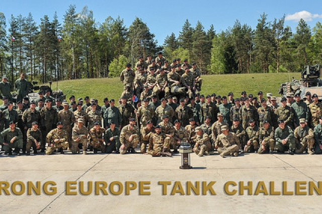 Seven platoons from six NATO nations take part in the Strong Europe Tank Challenge, each sending a tank platoon to vie for first place. The participating nations are: Denmark, Germany, Italy, Poland, Slovenia and the U.S. (U.S. Army photo by Visual Information Specialist Markus Rauchenberger/released)