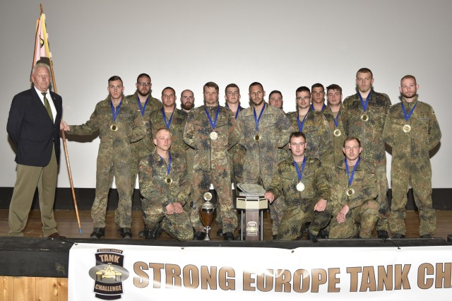 The German platoon took top honors in the Strong Europe Tank Challenge, a three-day competition that tested offensive and defensive operations and mounted orienteering, with Denmark and Poland placing second and third, May 13, 2016. (U.S. Army photo by Spc. Nathanael Mercado/Released)