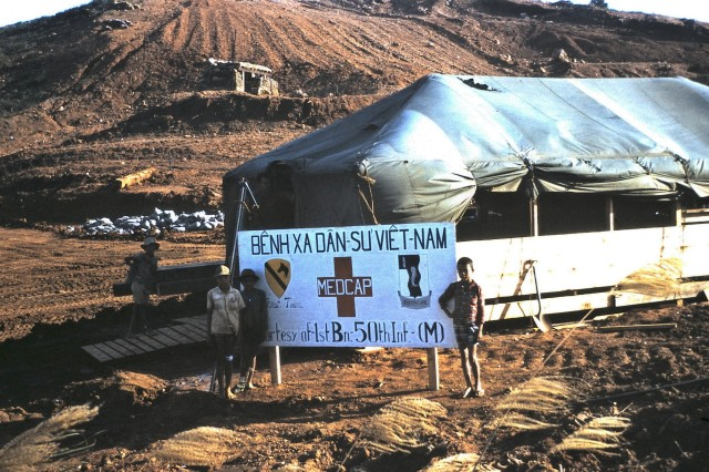 The civilian aid station outside the LZ Uplift area of operations that Dr. Ray Cave created for the local residence. He was let his more experienced medics run the station and would visit it when he could.