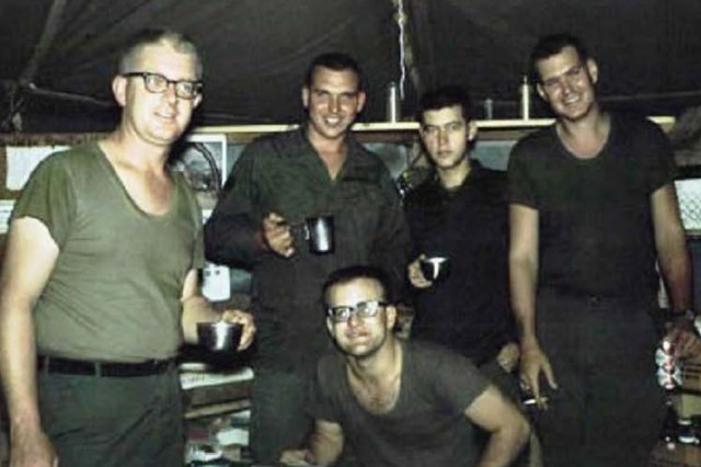 Capt. (Dr.) Ray Cave (left) with medics at LZ Uplift battalion aid station. Photo courtesy of retired Lt. Col. Charles McAleer